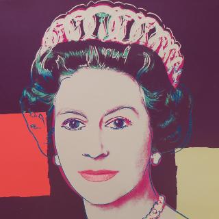 """Queen Elizabeth II aus der Serie """"Reigning Queens"""" (Royal Edition), F. & S II.335, 1985 Farbsiebdruck mit Diamant Staub auf Lenox Museum Board Maße: 100,3 x 80,0 cm (39 1/2 x 31 1/2 Inch) Edition 58 ohne Diamant Staub (30 TP mit Diamant Staub) Dieser Print ist frontal rechts unten mit Bleistift signiert und nummeriert R 15/30 Gedruckt von G. Mulder Amsterdam"""