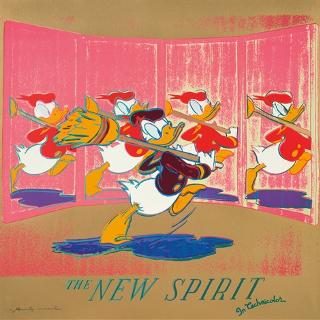 The New Spirit (Donald Duck), FS II.357, 1985 Siebdruck auf Lenox Museum Board Maße: 96,3 x 96,3 cm Edition: 190 Stück Frontal unten links signiert und nummeriert