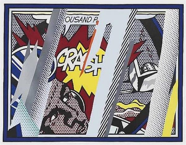 Reflection on Crash (Reflection Serie), WVZ Nr. Corlett 239, 1990 Lithografie, Farbsiebdruck, Holzschnitt mit metallisierter PVC-Collage, mit Prägung auf Bütten Somerset Papier Maße: 98,3 x 123,7 cm (Blattgröße: 114,6 x 139,1 cm) (39 x 49 Inch) Edition: 68 Stück (sowie 16 AP) Frontal mit Bleistift signiert und nummeriert Gedruckt und verlegt von Tyler Graphics NY
