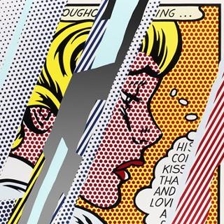 Reflections on Girl (Reflection Serie), WVZ Corlett 245, 1990 Lithografie, Farbsiebdruck, Holzschnitt mit metallisierter PVC-Collage, mit Prägung auf Bütten Somerset Papier Maße: 98,3 x 123,7 cm (Blattgröße: 114,6 x 139,1 cm) (39 x 49 Inch) Edition: 68 Stück (sowie 16 AP) Frontal mit Bleistift signiert und nummeriert Gedruckt und verlegt von Tyler Graphics NY